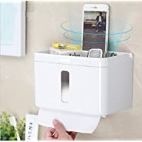 TUEU Multifunctional Toilet Paper Roll Holder with Phone Shelf Wall Mounted,Plasticl Bathroom Accessories Tissues Roll Dispenser Storage Rack