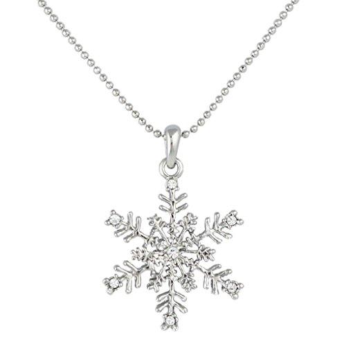 Ever Faith - Plata-Tono Austrain Cristal Copo De Nieve Flores Fiesta Collar Claro N04564-1