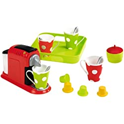 Jouets Ecoiffier - 2614 - Set Expresso: machine à café pour enfants + accessoires - 16 pièces - Dès 18 mois - Fabriqué en France