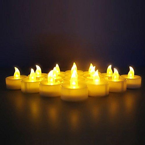 Soviton 5pcs giallo led senza fiamma candela votiva con lampada a batteria per barre holiday wedding home decor