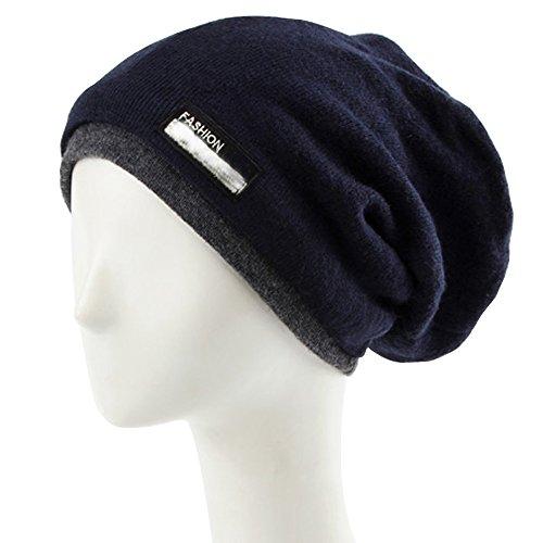 lohome® Winter Warm Hat, Unisex/Beanie/Skimütze Knit Crochet Ski Hat Oversized Cap Hat Warm Schal, navy - Blaue Ski-knit Beanie Cap