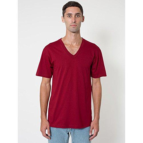American Apparel - Maglietta a Maniche Corte con Scollo a V - Unisex (XL) (Mirtillo Rosso)