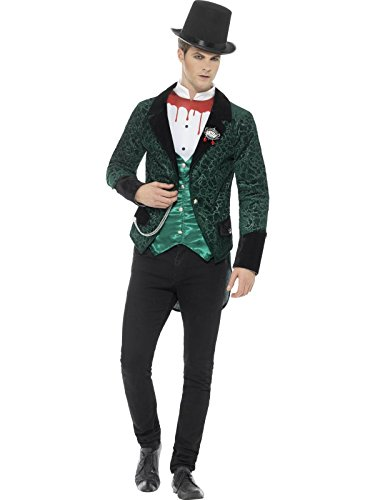 Smiffys Herren Deluxe Viktorianischer Vampir Kostüm, Jacke mit -
