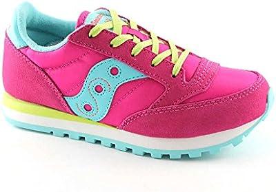 SAUCONY - Zapatilla deportiva fucsia con cordones, en gamuza y sintético, colorida, cómoda y de moda, niña, niñas, mujer