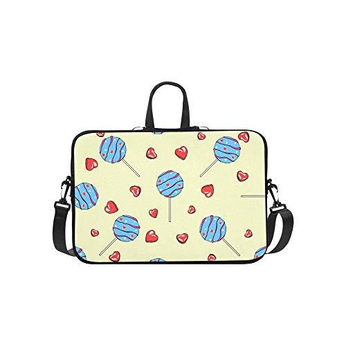 Laptop Umhängetasche Umhängetasche Tasche Notebook Griff Ärmel Neopren Soft Carring Tablet Reisetasche, Delicious I Sweets Hearts Pralinen Lutscher Laptop Handtaschen 14