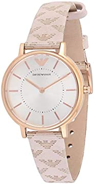 Emporio armani Women's White Dial Leather Band Watch - aR1