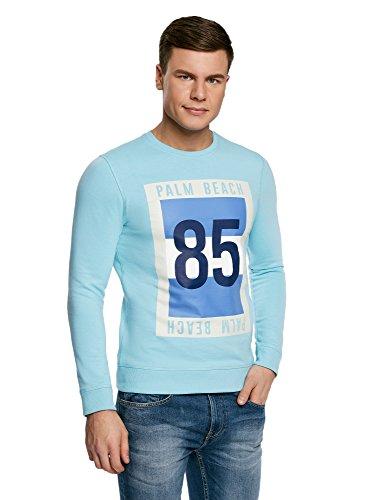 oodji Ultra Herren Gerades Sweatshirt mit Druck Türkis (7379P)