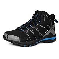 GRITION Mens Walking Boots, Waterproof Slip On Running Hiking Boots Outdoor Lightweight Lace Up Trainers Ankle Protection Winter Warm Breathable Shoes