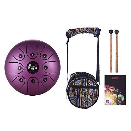 Muslady Tamburo in Acciaio C Chiave 5,5 Pollici Mini 8-Tone Strumento a Percussione Tamburo Handpan con Bacchette per Tamburi Trasportare Borsa