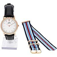 Orologio Donna, Think Positive, Modello SE W95 Flat Watch Medium Rosè, Cinturino Di Pelle Nero Made In Italy E Tessuto/ Cordora, Blu, Bianco, Azzurro E Rosso