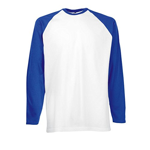 Fruit of the Loom Herren Langarmshirt Baseball Longsleeve T White/Royal