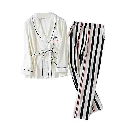 HAOLIEQUAN Mode Weiß Korea Kimono Pyjamas Sets Frauen Frühling Stricken Baumwolle Langhülse Pyjamas Robes Hose Für Frauen, L - Stricken Kimono-robe