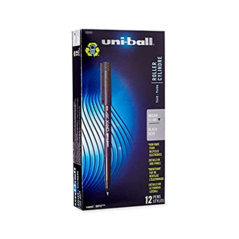 Uni-ball Onyx Stick Micro Point Roller Ball Pens, 12 Black Ink Pens(60040)