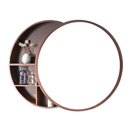 Xing Hua home Wand-Spiegel Bad Spiegelschrank Badezimmerspiegel mit Regal Schrank Wand-Make-up Eitelkeit runden Spiegel (Color : Walnut Color, Size : 60cm) -