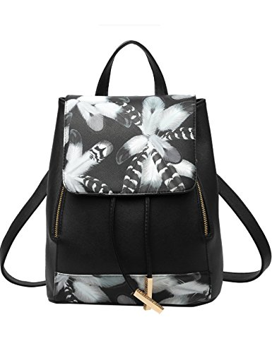 Menschwear PU Zaino Satchel Daypack sacchetto di scuola Nero 2 Nero 2
