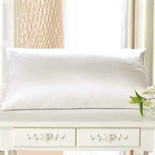 LilySilk Seide Kissenbezug Kissenhülle Uni Unterseite von Baumwolle mit Reißverschluss 1 Stück Wende Kissen in Schachtelverpackung Weiß 40x80cm Verpackung MEHRWEG -