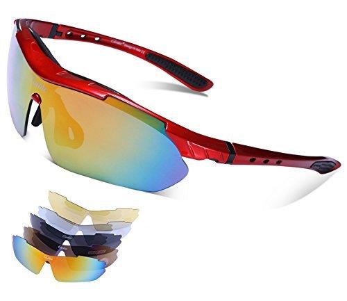 Carfia Multi TR90 UV 400 Outdoor Sport Brille Polarisiert Sonnenbrille Radbrille mit 5 wechselbare Linsen für Radfahren Laufen Angeln Baseball (E)