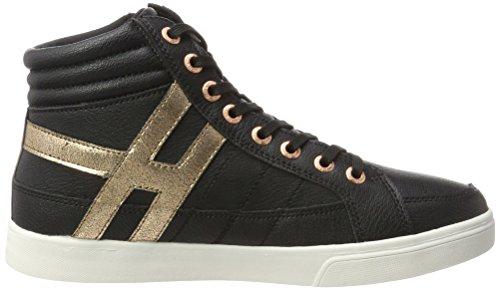 His 16mcb007, Sneaker Un Collo Alto Donna Schwarz (noir / Bronce)