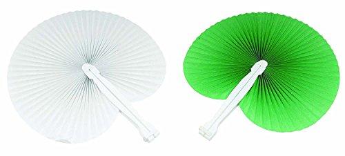 100 pezzi ventaglio 50 ventagli Verdi 50 ventagli Bianchi (24cm -26 cm) ideale come gadgets, bomboniera per matrimoni,comunioni,cresime eventi,feste