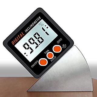 AUTOUTLET Digital Inclinometer Protractor 4 * 90° Level Box Angle Finder Backlight Level Gauge Bevel Gauge with Magnetic Based IN/FT,mm/m