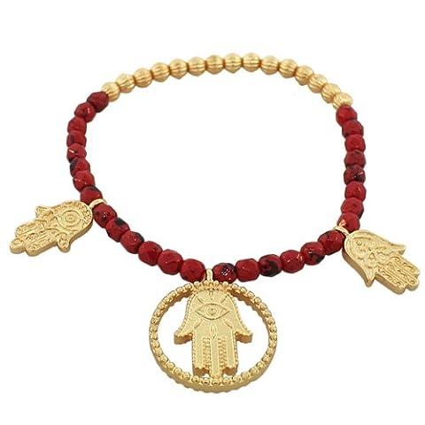 Fashion Alloy Red Gold-Tone Hamsa Evil Eye Stretch Beaded Bracelet