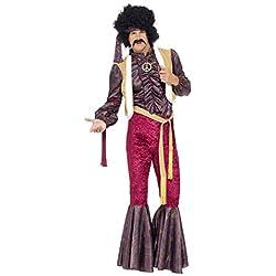 """Smiffy's Smiffys-43186M Traje de Rockero Psicodélico de los 70 con Bengalas, Top con Chaleco Adjunto y Diadema, Color púrpura, M - Tamaño 38""""-40"""" 43186M"""