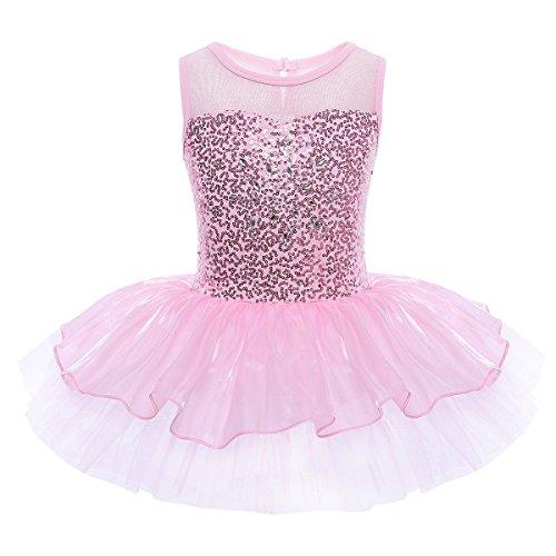 YiZYiF Mädchen Ballettanzug Ballettkleid Ballett Trikot Turnanzug Mädchen Kleider Pailletten 98 104 110 116 122 128 140 (122-128, Rosa)