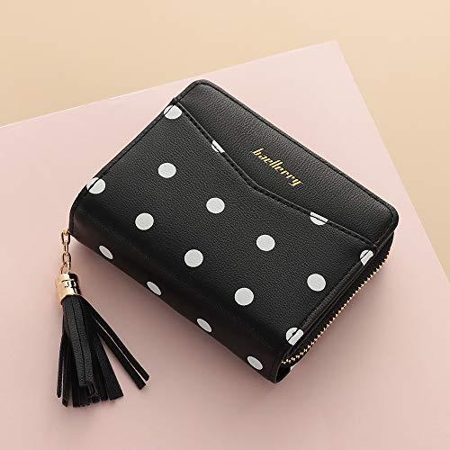 3d2e60852234 Women Party Clutch Phone/Card Holder Coin Purse Handbag Dots Print Leather  Small Wallet Tassel Zipper Short Bifold Wallets