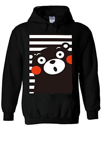 Japan Anime Kumamon Bear Animal Funny Black Men Women Unisex Hooded Sweatshirt Hoodie-L (Sweatshirt Black Bear Baumwolle)