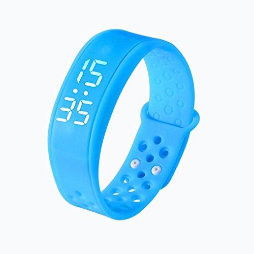 Braccialetto Orologio, ihee W62LEDs IP44impermeabile TPU Sport Salute Pedometro-Braccialetto Smart Orologio da polso intelligente sonno Monitoraggio-Bluetooth 4.0, donna Uomo, W6, Blue, 214 x 16 x 8MM
