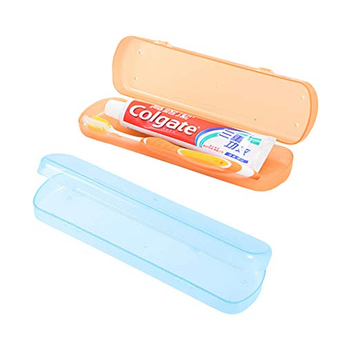 Ndier Caja del Cepillo de Dientes, Caja del Cepillo de Dientes del Viaje para los Viajes de Negocios 2PCS Naranja + Azul