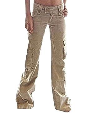 Huateng Pantalones de Carga para Mujer Pantalones Militares del ejército de Señoras Pantalones de Carga Casual...