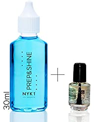 NYK1 Prep and Shine 30ML Sticky Residue Remover Super Concentrate Nail Sanitiser Plus Cnd Shellac Mini Solar Oil Pack For Uv/Led Gel Nails