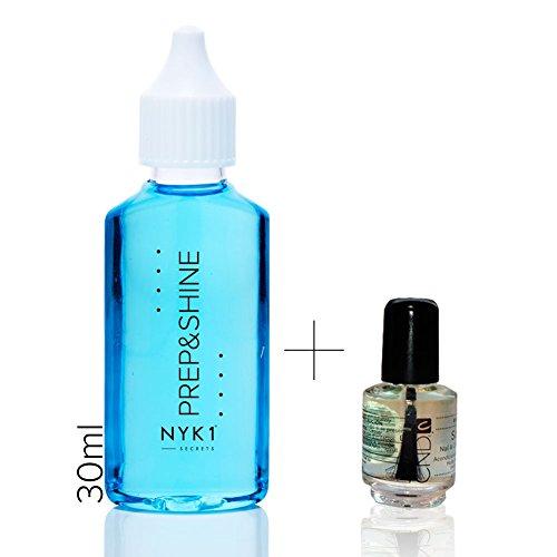 NYK1 -PREP & SHINE 30ml, rimozione residui appiccicosi, igienizzante per unghie super concentrato e mini olio solare CND Shellac, per unghie in gel