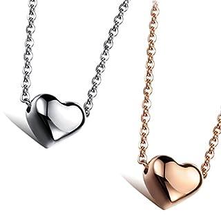 Aroncent 2-er Kette Damen Halskette mit Anhänger Edelstahl Y-Kette Herz Kette, Silber Rosegold
