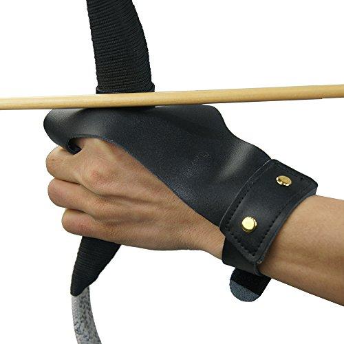 Sportsmann Bogen Finger Handschuh Schießhandschuh Bogenhandschuh Schutzhandschuh Fingerschutz Bogenschießen Recurve Bow Compoundbogen (Schwarz) (Handschuh Bogenschießen Diy)