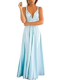 Vestiti Donna Eleganti da Sera Lunghi Senza Maniche Senza Spalline Senza  Schienale Bendare Nobile Moda Chic Unique Giovane Estivi Abito… 9f8fa829750