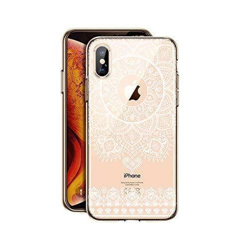 HULI Design Case Hülle für Apple iPhone X/XS Smartphone im Orientalischen Muster weiß - Schutzhülle mit orientalischem Mandala Sonnenmuster Henna Ornament Traumfänger - Handyhülle durchsichtig