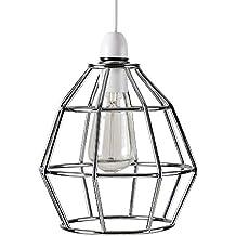 MiniSun – Contemporánea pantalla para lámpara de techo - cesta cromada vintage de estilo Nueva York