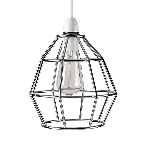 MiniSun - Zeitgenössischer Lampenschirm aus Metall mit Käfigdesign und einem polierten verchromten Finish - für Hänge- und Pendelleuchte -