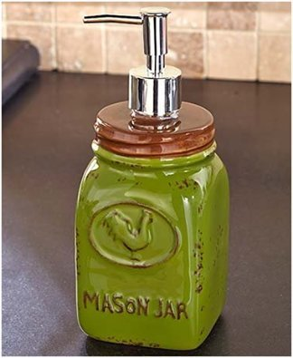 Green Rooster Liquid Soap Dispenser Pump Primitive Mason Jar Tuscan French Country Kitchen Decor by KNL Store