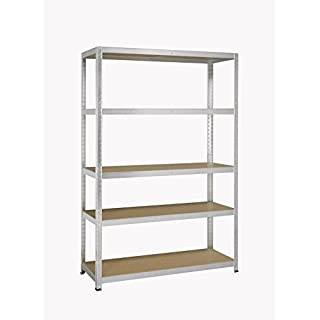 avasco 175 Clear Strong Heavy Duty Clip/Wood/Metal Shelf with 5 Shelves GALVA, Clear, 5400431606003