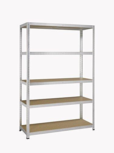 Avasco 265forte mensola adattabile/carico pesante, metallo/legno con 5ripiani/luce zincato, 200 x 120 x 50 cm claire galva, galva