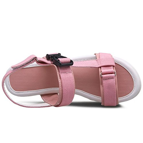 TAOFFEN Femmes Mode Bout Ouvert Sandales Compensees Plateforme Slingback Ete Chaussures 785 Rose