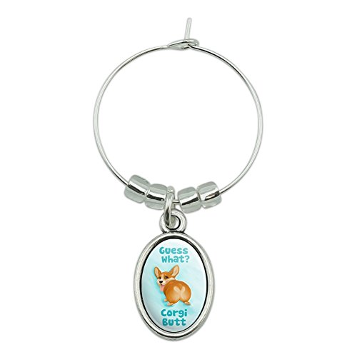 Guess What Corgi Butt Lustiger Witz Weinglas Oval Charm-Marker