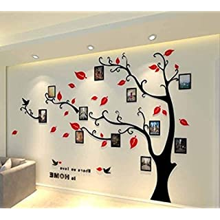 Topmail Large Removable Vinyl 3D Tree Wall Stickers Red Nursery Wall Decals Family Tree Wall Stickers with DIY Photo Frames for Bedding Room Living Room(M, Red Leaves,Right)