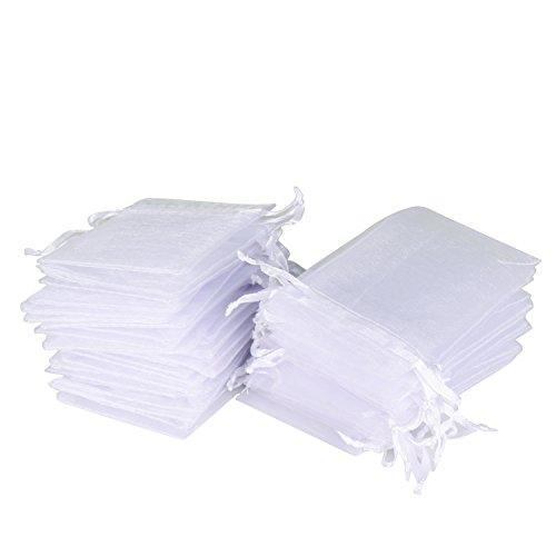 Wolfteeth 50 pz sacchetti regalo caramella organza borse bianco per bomboniera nozze confetti favore gioielli,7 x 9 cm