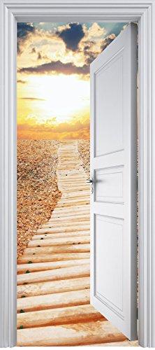 Stickersnews-Adesivo trompe l'oeil, a forma di porta-Runner tramonto, 90 x 200 cm, 325 - Adesivo Runner