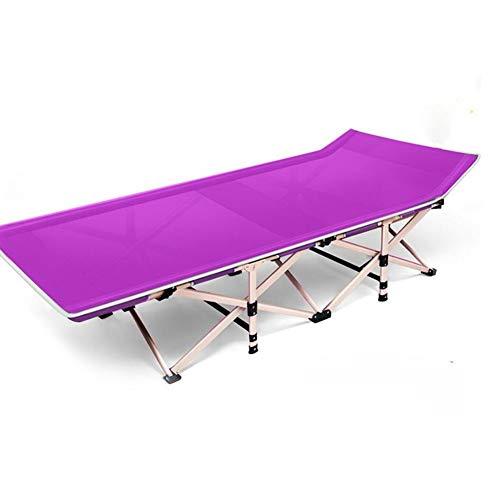 Folding bed letto di campeggio piegante, letto singolo allargato portatile respirabile del tessuto della maglia per il campeggio, viaggiare e casa (colore : viola)