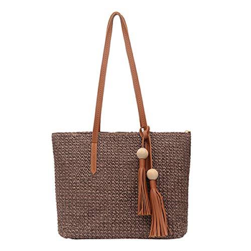 Fyyzg gewebte Handtaschen Mode wild ins Quaste Holz Pflanze Stroh Strandtasche gewebte Handtaschen Schulter geschlungen - braun
